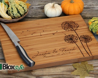 Personalized/ Engraved Cutting Board w/ Dandelion Design 11x16 or 9x12, Personalized Wedding Gift,Custom Cutting Board,Christmas Gift,Gifts