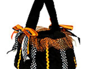 Black Pumpkin Halloween Trick or Treat Tote Bag