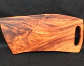 """Curly Monkey Pod Cutting Board and Serving Board with Handle 20.5"""" to 24"""" x 11"""""""
