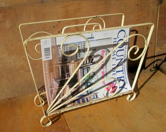 rustic white metal magazine / newspaper stand. retro vintage look. great unique mag stand (contact us for delivery quote)