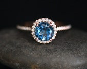 London Blue Topaz Engagement Ring Topaz Halo Ring in 14k Rose Gold with London Blue Topaz Round 7mm and Diamond Halo