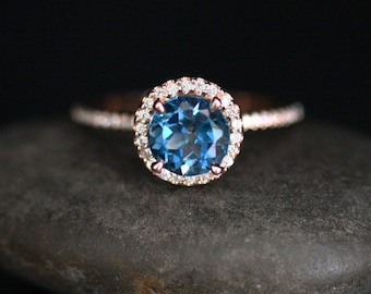 London Blue Topaz Engagement Ring Topaz Halo Ring in 14k Rose Gold with London Blue Topaz Round 7mm and Diamond Halo