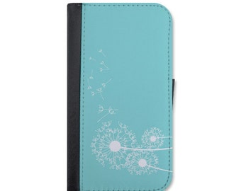 Lovely Dandelions Blowing In The Wind Wallet Case For iPhone 4/4s, 5/5s, 5c, 6/6s, 6 Plus/6s Plus, 7 or 7 Plus.