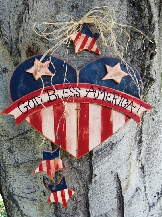 Patriotic 4th of july wood decoration wall or door hanging for Patriotic welcome home decorations