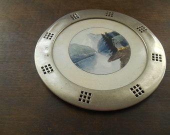 Vintage porcelain metal pot holder Round pot holder Shabby kitchen decor