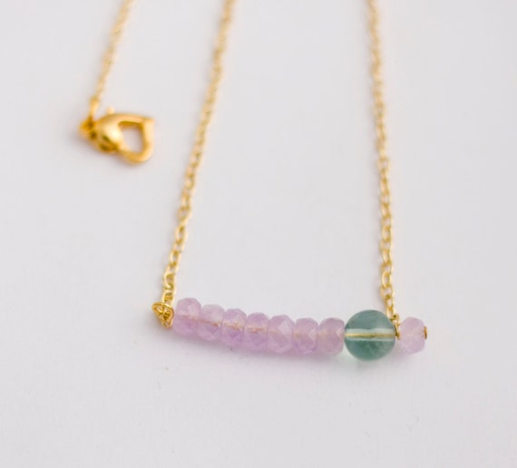 gold tone thin chain choker necklace with lilac amethyst