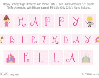 Happy Birthday Banner for Prince and Princess Party