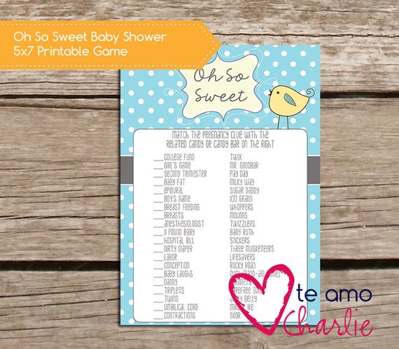 Sweet Sweet Baby Baby Shower Game: Oh So Sweet Printable Baby Shower Game INSTANT By
