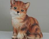 Vintage Foil Label Planter of Orange Tabby Kitten by Napcoware in Ceramic