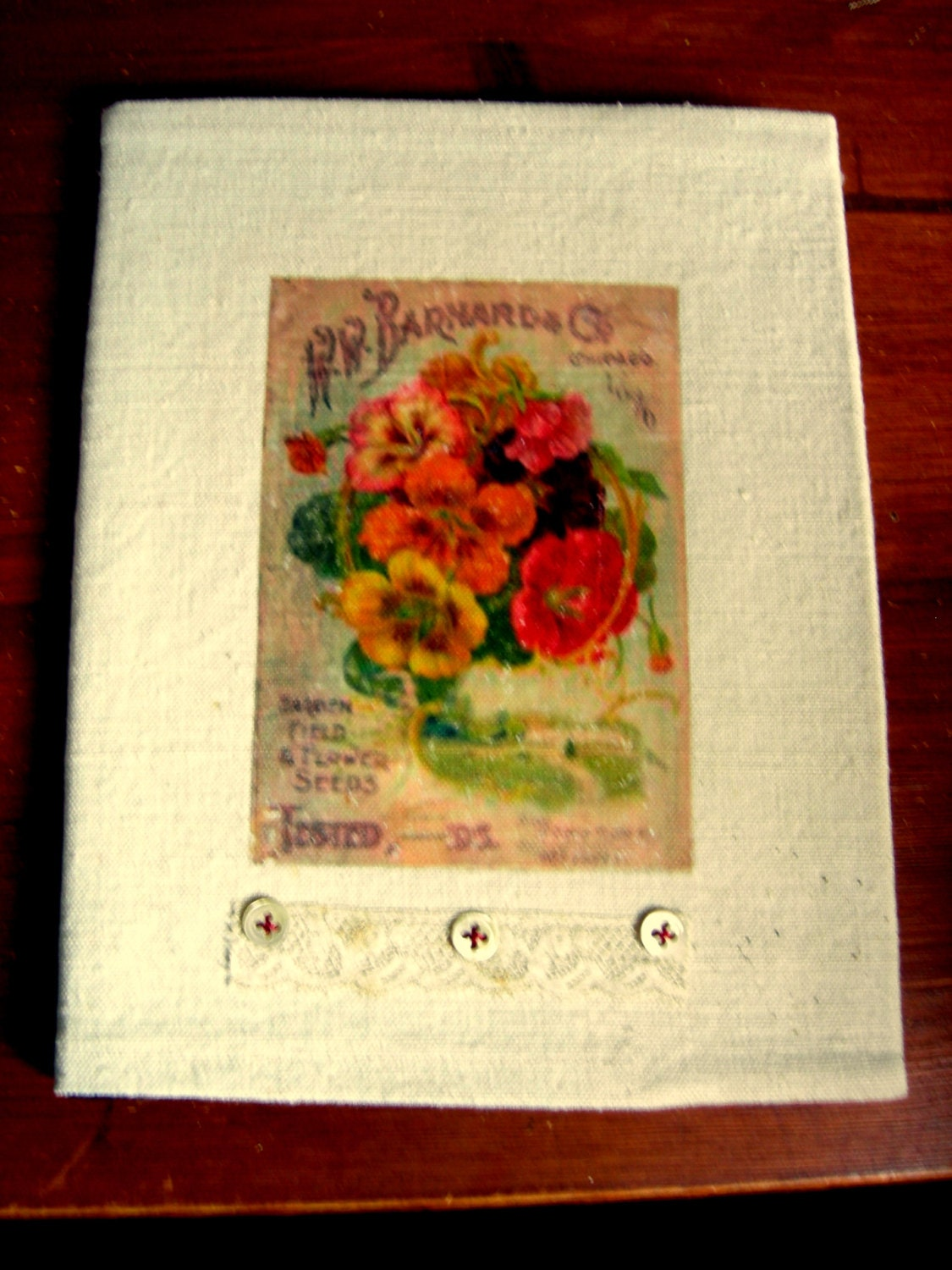 Romantic Cover for a Diary Garden Journal Poetry book etc
