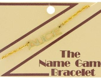 Name Bracelet Alice Carol Eileen Gail Name Game Gold Tone Vintage 70s