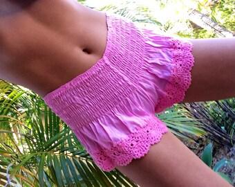 Pink hand crochet trim shorts
