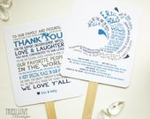 Wave | Seaside | Surf | Beachside Wedding Ceremony Program Fan - Fully Customizable Wording & Ready-to-DIY Kit (QTY 30+)