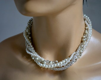 Wedding Pearl Necklace,  Chunky Necklace, Pearl Necklace, Wedding Jewelry, Bridal Jewelry