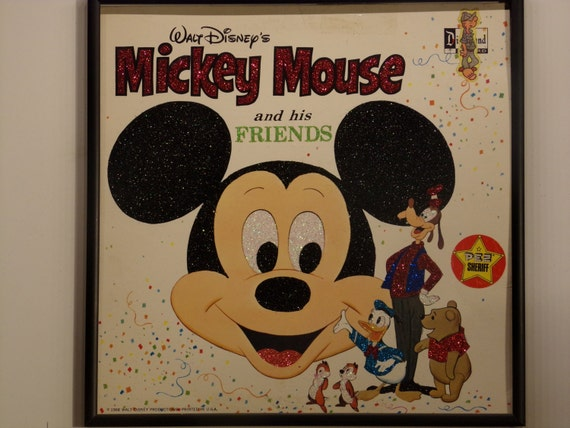 Glittered Record Album - Mickey Mouse and His Friends - Walt Disney