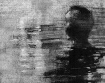 """Haunting Figure Monotype Print, """"Plunge III"""""""