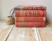 vintage books very old shades of rustic red 4 books - NanaBettysHouse