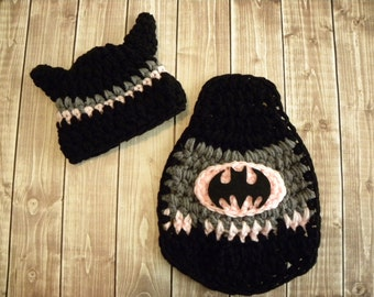 Batgirl Inspired hat and cape. Newborn baby girl photo prop bat hat and cape. Crochet super hero hat and cape.