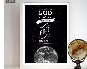Genesis 1.1 print, Scripture art Framed  print- Bible verse wall art, Home decor. Earth Print. Christian Art.