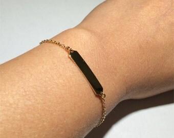 Gold Bar Bracelet, Gold Bracelet, Minimalist Bracelet, ID, Thin Bracelet