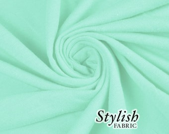 Green Mint Lt Cotton Lycra Jersey Knit Fabric Combed 7oz by the Yard Cotton Stretch Jersey Knit by the yard - 1 Yard Style 477