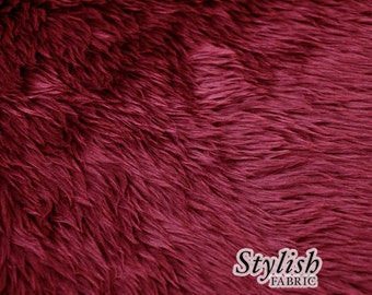 Maroon Pile Luxury Shag Faux Fur Fabric by the yard for costume, throws, home furnishing, photo props - 1 Yard Style 5009