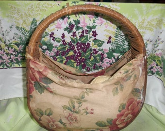CLEARANCE! was 8.00 Antique Wicker and Fabric Knitting Basket, Shabby Old Wicker Basket, Cottage Chic Basket, BOHO Basket T