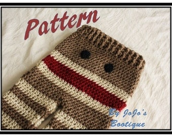 PATTERN - Crochet Monkey Baby Pants PATTERN - Baby Monkey Pants - PDF Sock Monkey Pants - Baby Pants with Tie String - by JoJo's Bootique