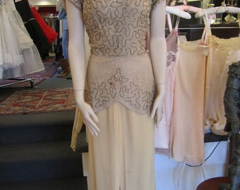 Vintage Cafe au Lait Lace and Pale Gold Crepe Dress with Beaded Top and Peplum, ca 1930s