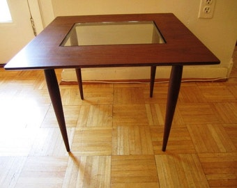 Mid Century Walnut Side Table with Glass Insert, ca 1950s
