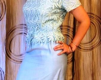 Vintage Aqua Silk and Lace Sheath Dress, ca 1950s