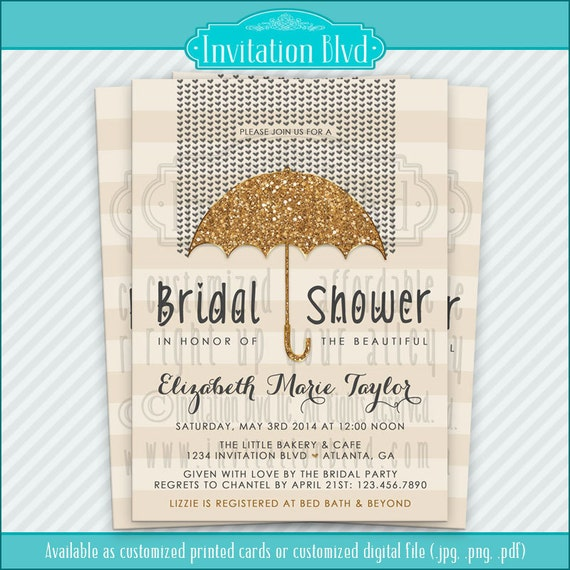 Bridal Shower Invitation, Wedding Shower Invitations - Glitter Umbrella Bridal Shower Invitation - Printable Bridal Shower Invitation