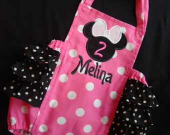 Minnie Mouse Infant, Toddler, Girls Ruffled Sunsuit / Romper in Pink and Black Polka Dot (PERSONALIZED)