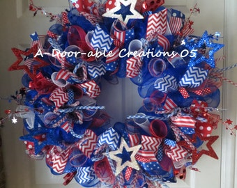 FOR PATRICIA ONLY...Stars & Stripes Patriotic Mesh Wreath