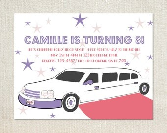 Hollywood limo girls movie night birthday party invitations