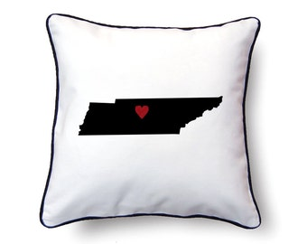 Tennessee Pillow - 18x18 - Tennessee Map - Personalized Name or Text Optional - Wedding - Housewarming Gifts