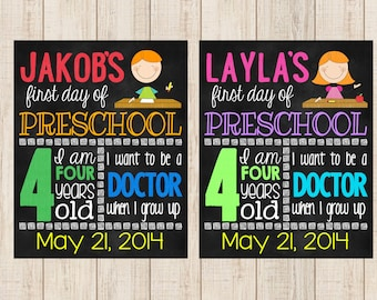 First Day of School Printable Chalkboard Sign - (Print your own digital file)