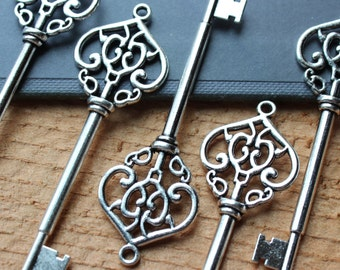 10 Large Skeleton Keys Double sided Antique Silver Steampunk Supplies Wedding Key wholesale lot bulk