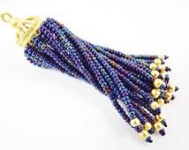 Long Blue Iris Beaded Tassel - 22k Matte Gold Brass - 1PC