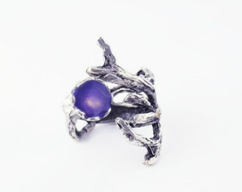 purple twig ring silver branch ring silver tree ring purple wood ring tree branch jewelry nature inspired statement artisan jewelry