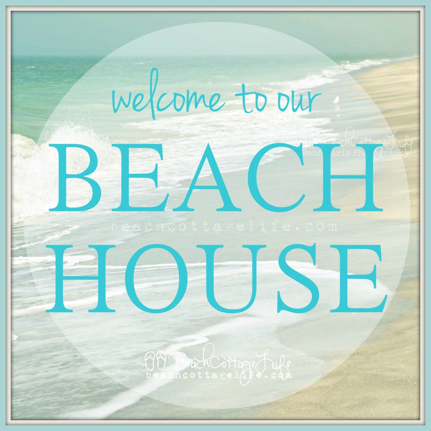 Welcome To Our Beach House Sign: Welcome To Our BEACH HOUSE Photo COASTAL Chic Sign Seaside
