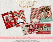 Vintage Colors 5x7 Christmas Card Template Set - Muted Tones  - Photography Templates - cct BTS