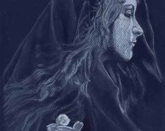 Blue Lady - print of an original drawing by Tuulia Tamminen - Size A3