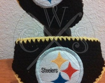 Pittsburgh Steelers Crochet Helmet Style Hat and Diaper Cover Set - For Baby Boys or Girls!