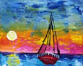 ORIGINAL Abstact Palette Knife Painting Contemporary Art Seascape SAILS Modern Boat by Tanja Bell