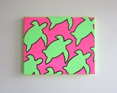 hand painted neon turtles 8x10 canvas, customizable