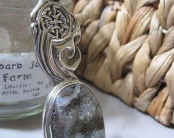 Limited Edition Sterling Silver CELTIC Design DRUZY Pendant Gray