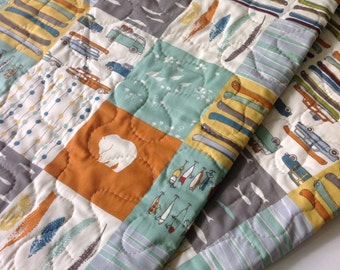 Baby Boy Quilt, Organic, Reversible, Feather River, Patchwork, Camping,Rustic,Canoes, Bears, Crib Bedding, Crib Quilt, Baby Bedding, Nursery