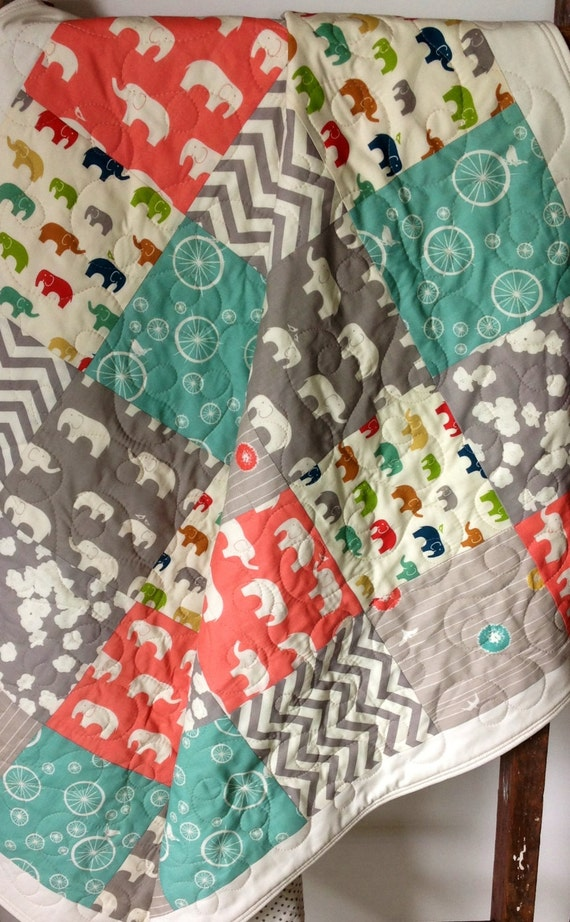 Elephant Baby Quilt Organic Gender Neutralbirch By Coolspool