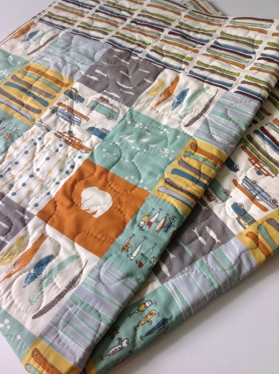 Baby Boy Quilt Organic Reversible Feather River Patchwork